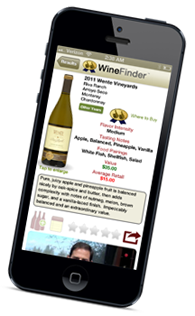 Thumbs Up Winefinder App on IPhone